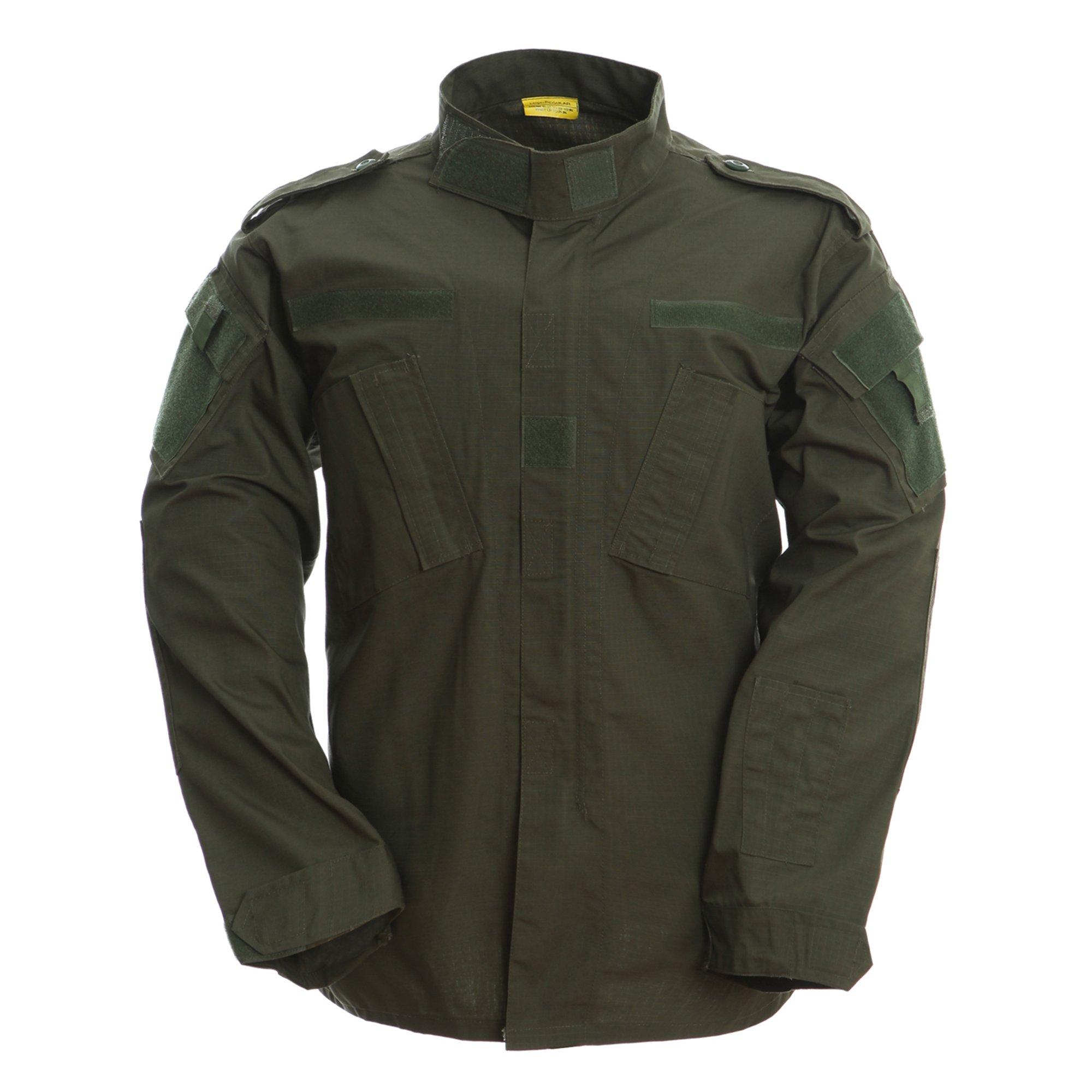 TACVASEN Men's Army Green Tactical Army Military Uniform Warm Combat Shirt Top Jacket Blouse XXL