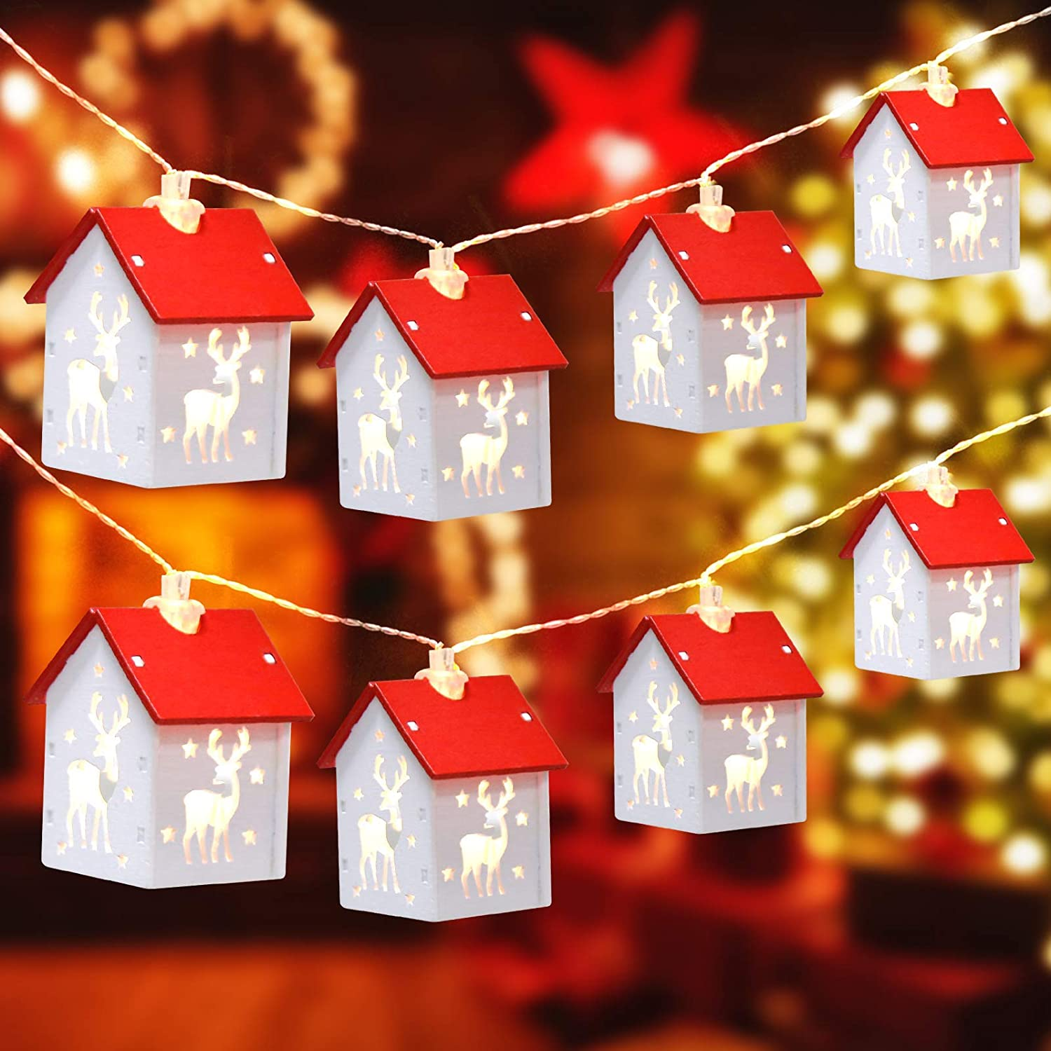 Difini Christmas Decoration, Indoor 15 ft 30 LED Christmas String Lights, 15 Pcs Wooden House Battery Operated Christmas Lights for Xmas Garden Patio Party Christmas Decor Outdoor s003