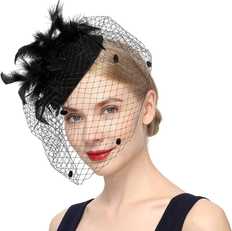 Cizoe Fascinators Hats for Women Pillbox Hat 20s 30s 50s Vintage Headwear Bowler Feather Flower Veil Wedding Tea Party Hat