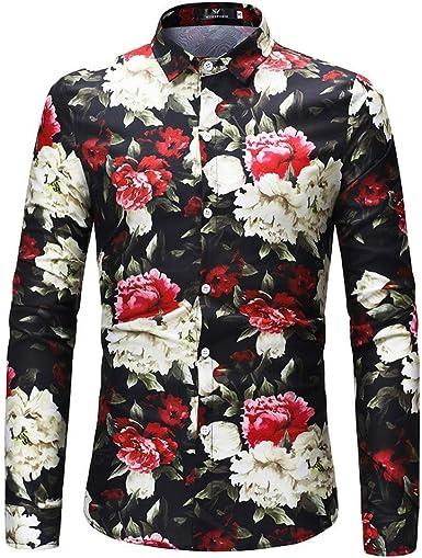 Abrigo Camisa Blusa Cráneo para Moda Hombre Casual Rosa Mode ...