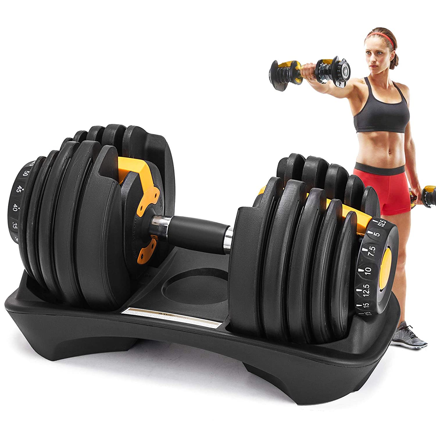 Popsport 52.5LBS Adjustable Dumbbell 1 PCS Fitness Dumbbell Standard Adjustable Dumbbell Handle Weight Plate Home Gym System- Building Muscle