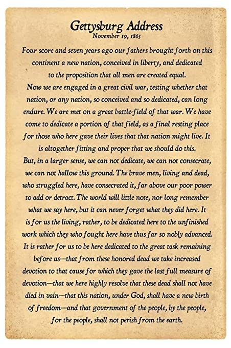 graphic relating to Gettysburg Address Printable named 12x18) Gettysburg Protect Finish Words Indoor/Outside Plastic