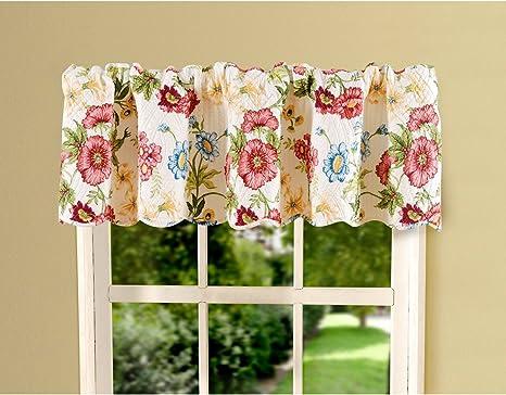 Black Pink Green White Jacobean Flower Floral Bedroom Window Treatment Valance Decor