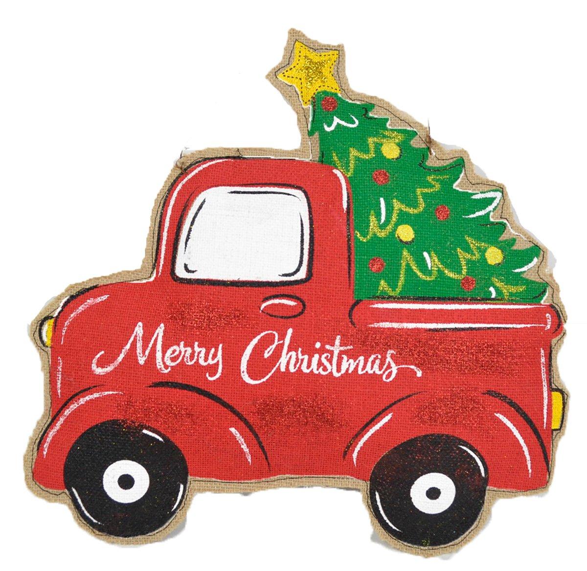 Vintage Truck Hauling Christmas Tree Door Hanger Holiday Door Decorations - Or Holiday Season Wall Hanging - Large 18 x 11 Size - On Burlap