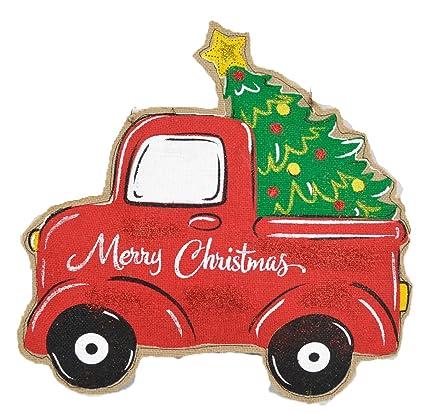 Vintage Truck Hauling Christmas Tree Door Hanger Holiday Decorations