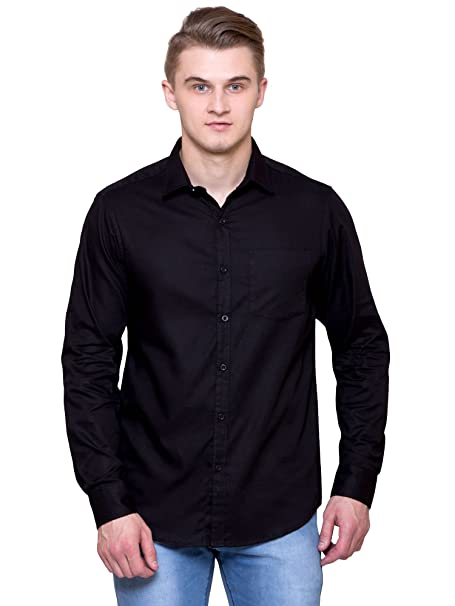 72b7b7a4f6 JScottwitchy Men s Pure Cotton Casual Semi Formal Slim Fit Black Shirt ...