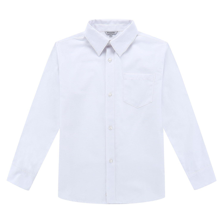 Bienzoe Ragazzo Uniforme Scolastica Manica Lunga Bottone Giù Oxford Camicia 160057EU