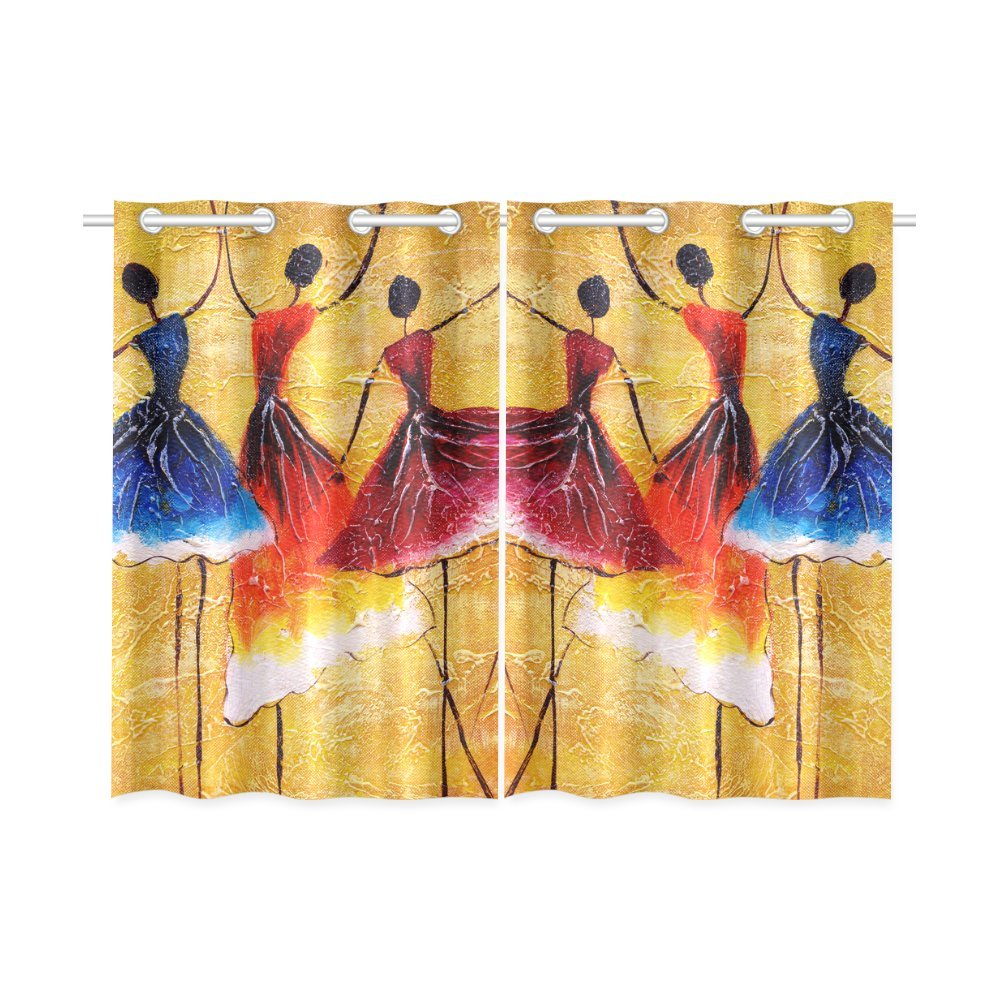 Happy More Custom Oil Painting Spanish Dance Window Curtain Kitchen Curtain 26''x39'' (Two Piece)