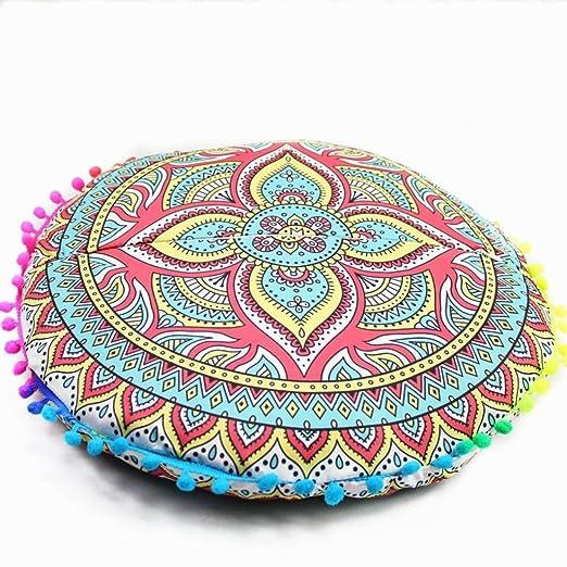 Cojín redondo con funda para el suelo con diseño de mandala ...