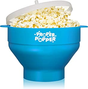 The Original Proper Popper Microwave Popcorn Popper, Silicone Popcorn Maker, Collapsible Bowl BPA Free & Dishwasher Safe - (Turquoise)