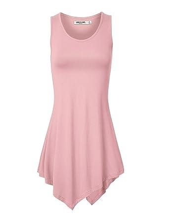 WT671 Womens Handkerchief Hem Tank Tunic Top XS PINK