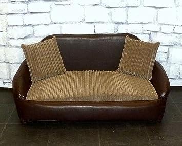 Zippy piel sintética cama sofá para perros - grande - marrón y marrón claro jumbo cable: Amazon.es: Productos para mascotas