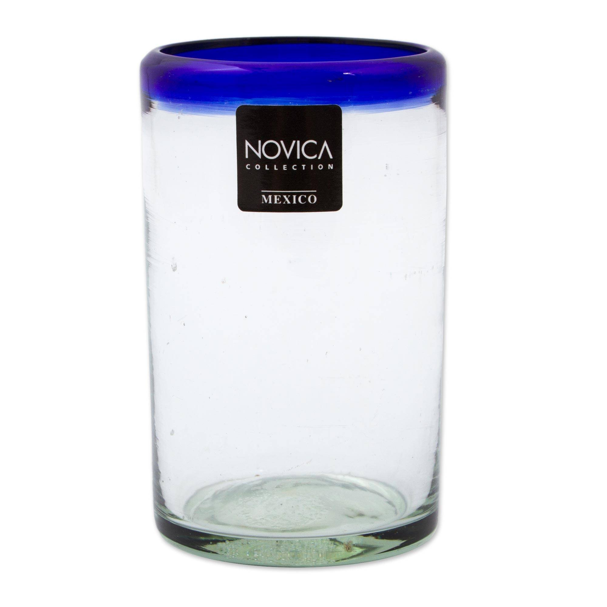 NOVICA Artisan Crafted Hand Blown Clear Blue Rim Recycled Glass Juice Glasses, 8 oz. 'Cobalt' (set of 6) by NOVICA (Image #4)