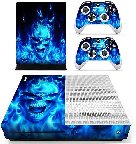 DOTBUY - Adhesivo Decorativo para Consola Xbox One S, Incluye 2 Adhesivos para el Mando y 1 para el Kinect, Varios diseños Azul Blue Fire Skull: Amazon.es: Informática