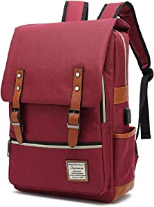 "SUPEASE Laptop Backpack for Women Men, Vintage Slim School Backpack with USB Charging Port for 15.6"" Notebook in Red"