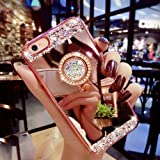 iPhone 7 Plus 5.5 Luxury Rhinestone Makeup Case,Auroralove iPhone 7 Handmade Bling Diamond Soft TPU Mirror Glass Case for Girls Women with Detachable Ring Stand-Rose Gold