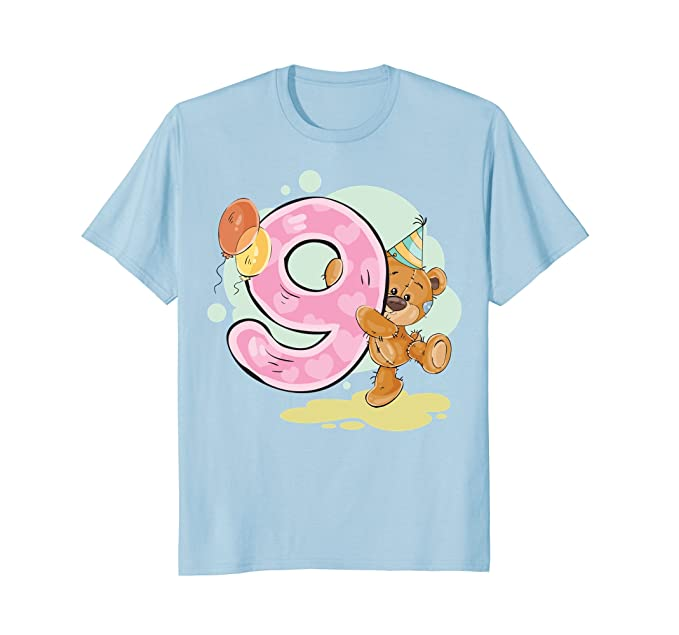 Mens TEDDY BEAR T Shirt HAPPY BIRTHDAY 9 NINE YEAR OLD Tees 2XL Baby