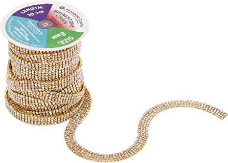 45/'/' Length 4 Line Strips iron On Crystal Diamante Ribbon Reel Bling Rope Dresse