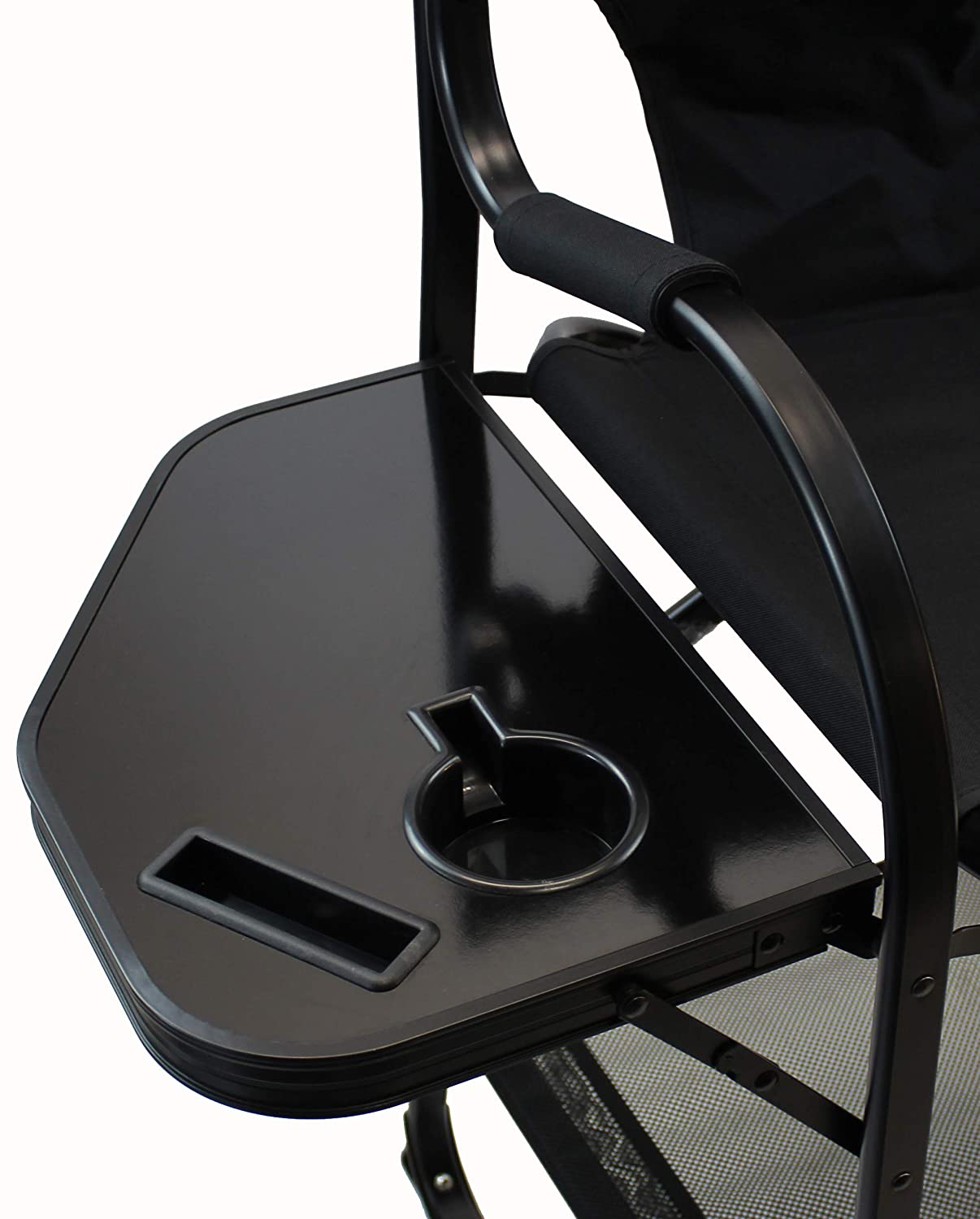 World Outdoor Products Professional Edition Tall Directors Chairs with Side Table,Built-in Cup and New Cellphone Holder,New Removable Front and Backside Patches.