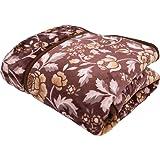 毛布 2枚合わせ わた入り 衿付き フラワー ブラウン シングル 西川ブランド