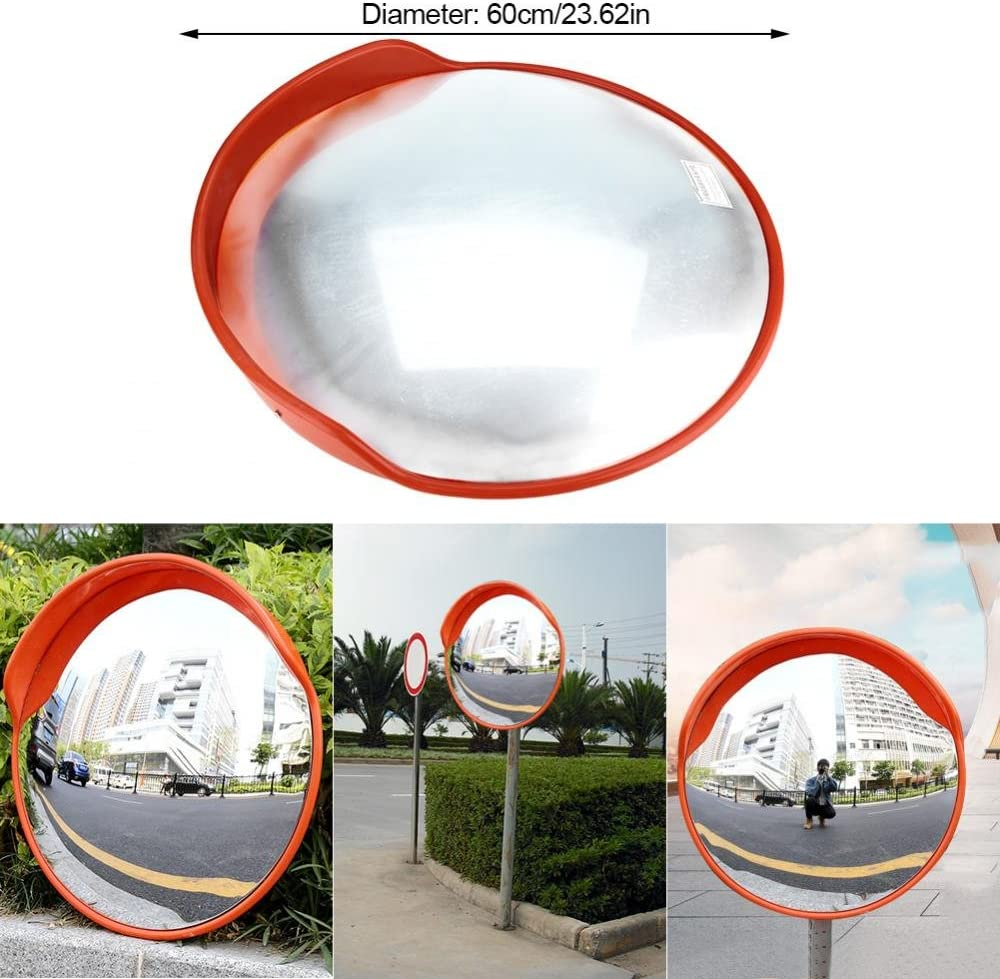 23 Inch 130 Degree Driveway Road Security Mirror with Mounting Bracket for Road Garage Parking Lot Blind Spot Safety Mirror