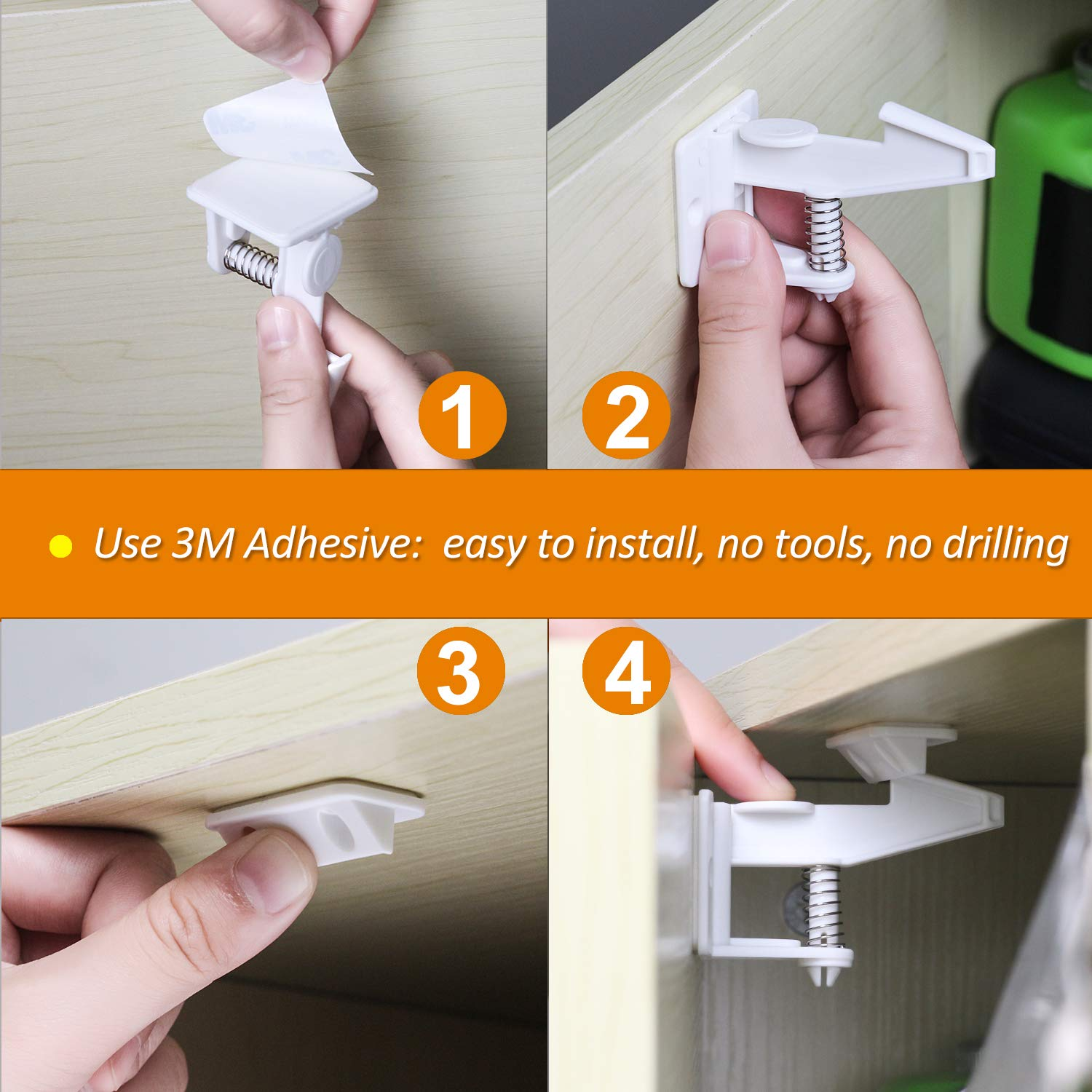 with 3M Adhesive Tape Lifelf Child Safety Locks Made of ABS 10 Buckles and 10 Locks No Installation Tool Required Baby Drawers Cupboard Locks Incl 10 Pack Baby Safety Cabinet Locks