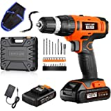 Power Drill - 20V Cordless Drill Set with 2*2.0Ah Lithium-Ion Battery, 1 Hr Fast Charger, 27pcs Accessories Compact Case…