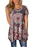 FIYOTE Womens Short Sleeve Floral Print Irregular Hem Asymmetrical Loose Tunic Long Blouse Tops