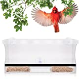 Premium Window Bird Feeder Extra Large Crystal Clear Acrylic With Removable Tray Bonus Personalization Stickers To Make It Unique And Fun For Kids And Cats