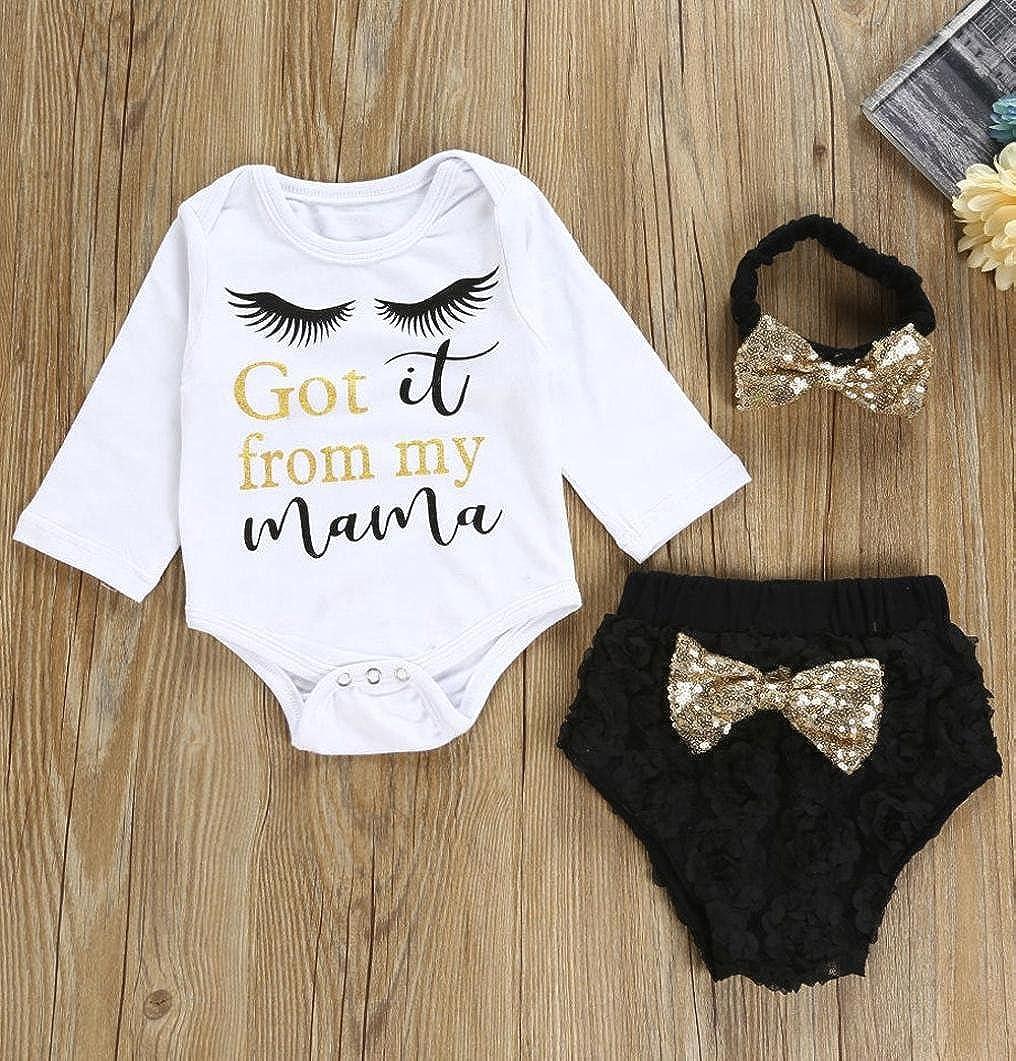 Lanhui/_3pcs Sunny Baby Girls Letter Clothes Set Romper+Shorts+Headband Outfits