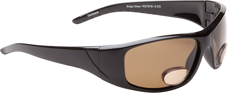 Fisherman Eyewear Polar View Bifocal Sunglasses with Brown Polarized Lens, Black (+3.00)