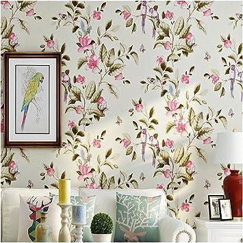 COCOL Vliestapete Amerikanische Land Blumen Und Vögel Wohnzimmer TV  Hintergrundbild Schlafzimmer Luxus Villa Hochzeit Raum