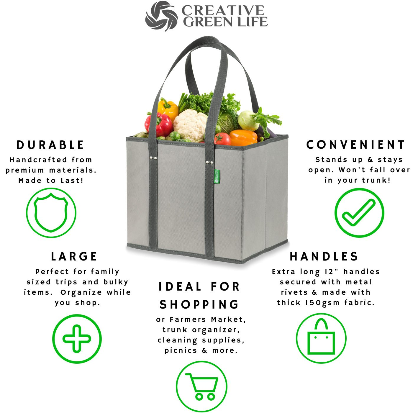 Reusable Grocery Shopping Box Bags (3 Pack - Gray). Large, Premium Quality Heavy Duty Tote Bag Set with Extra Long Handles & Reinforced Bottom. Foldable, Collapsible, Durable & Eco Friendly by Creative Green Life (Image #2)