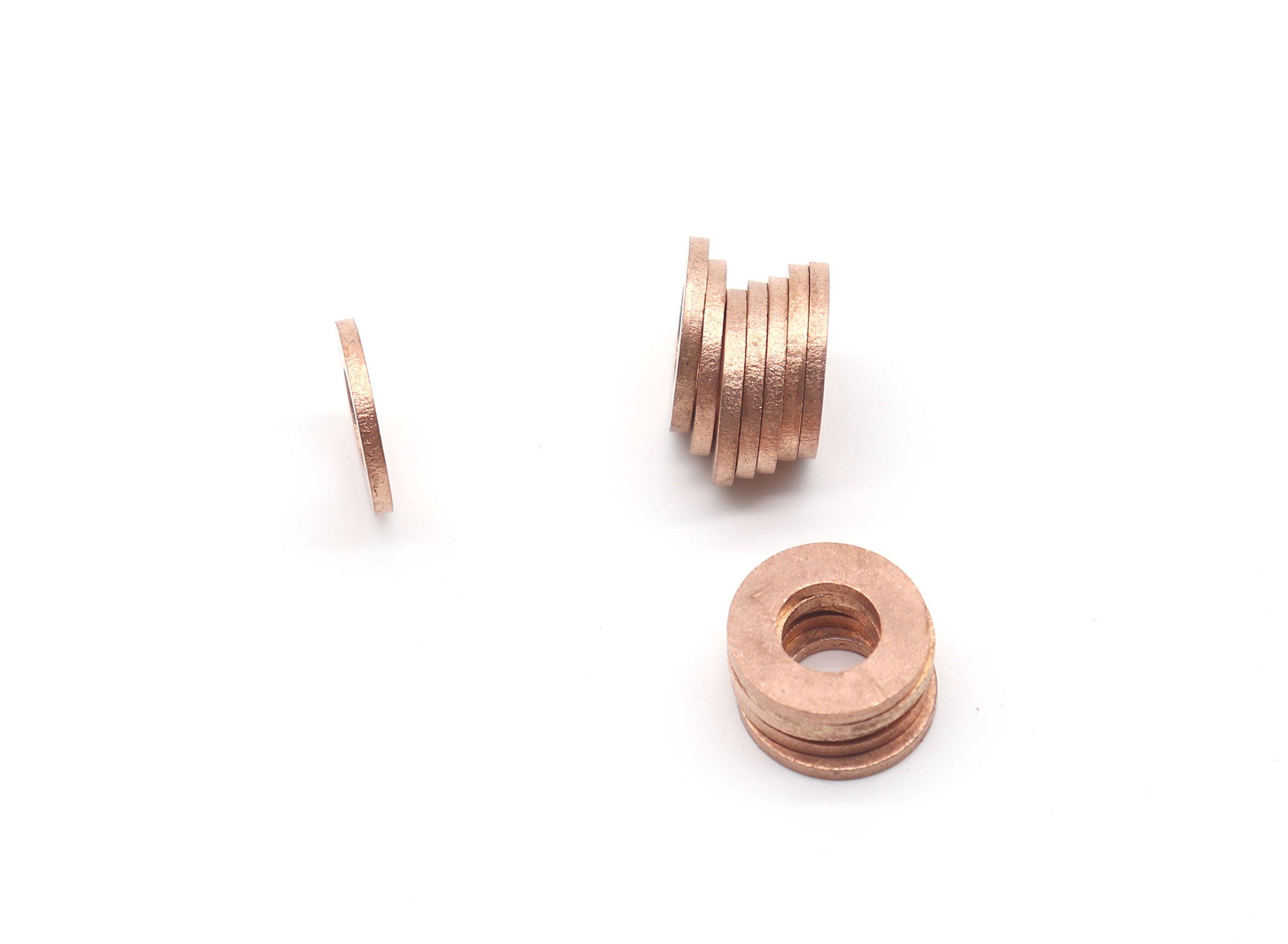 binifiMux 50-Pack M10 x 20 x 2mm Metric Flat Copper Sealing Washers by binifiMux (Image #3)