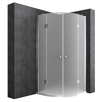 Eckdusche 80x80 cm, Milchglas (Satiniert), 8 mm ESG-Sicherheitsglas &  Lotuseffekt, Viertelkreis-Dusche mit 2 Pendeltüren, Duschkabine Ravenna02