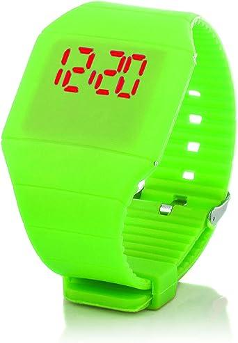 c.d.r. Silicona Reloj Digital LED Reloj de Pulsera LED Watch Reloj Digital Verde: Amazon.es: Relojes