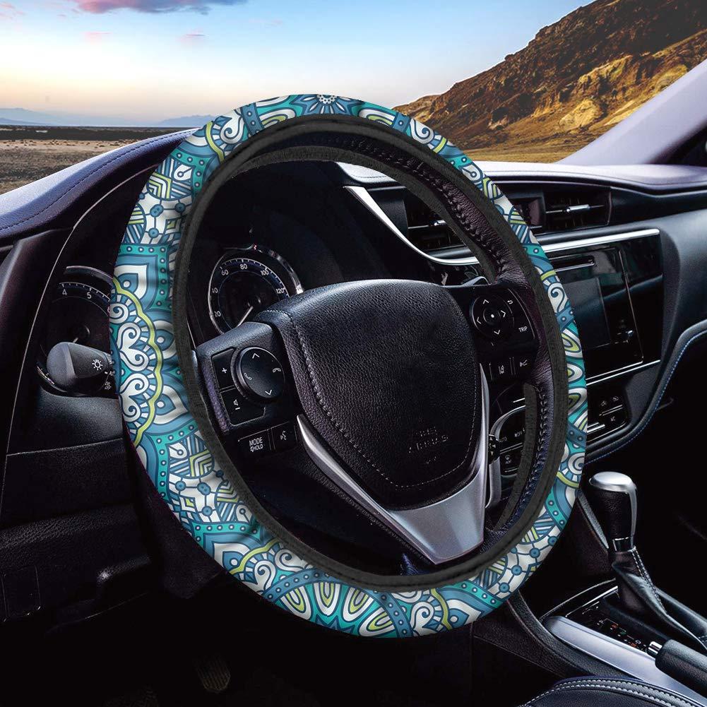 Dreaweet Bohemia Mandala Tribal Pattern Steering Wheel Cover Stretch Car Steering Wheel Cover Anti Slip and Sweat Absorption Auto Car Wrap Cover