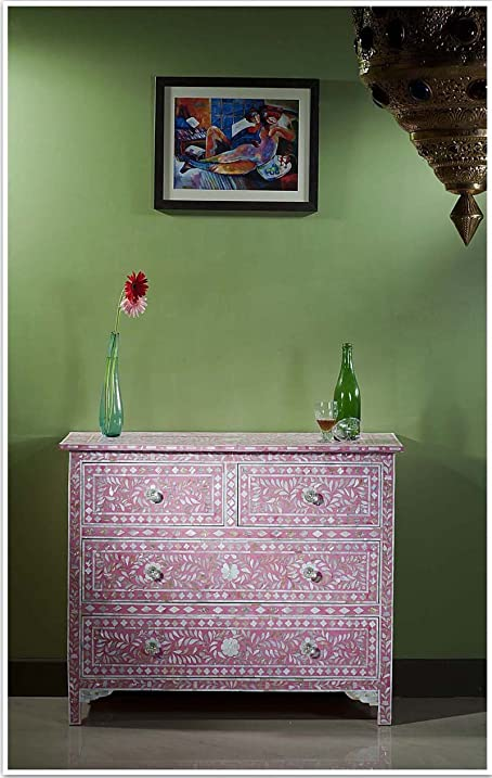Floral Mother Of Pearl Inlay Chest Of Drawer (Pink)