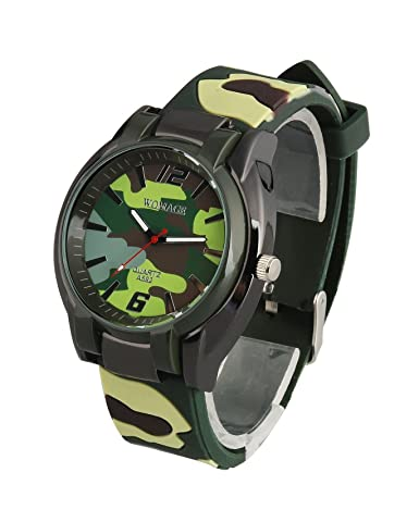 ShoppeWatch Mens Big Face Watch Green Camouflage Silicone Band Reloj de Hombre SWA592CAMO