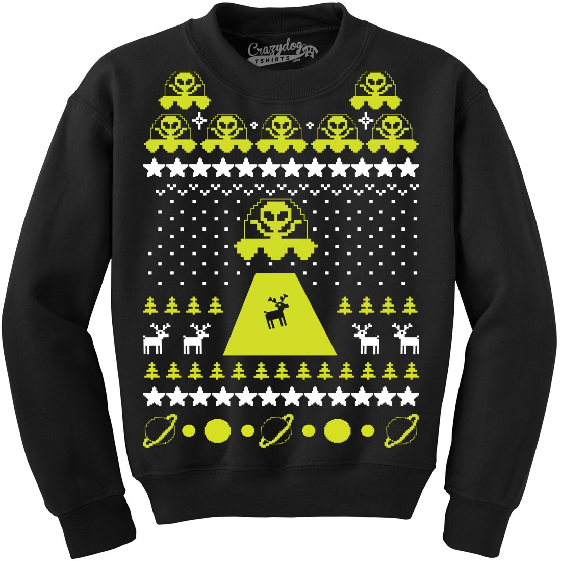 Unisex Alien Abduction Ugly Christmas Sweater Crew Neck Sweatshirt Crazy Dog Tshirts 017AlienAbductionUCSCREW