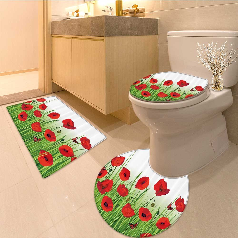 3 Piece Anti-slip mat set Grass s Butterfly Flora ating Summer Park Greenland Artwork Extralong Non Slip Bathroom Rugs by NALAHOMEQQ (Image #7)