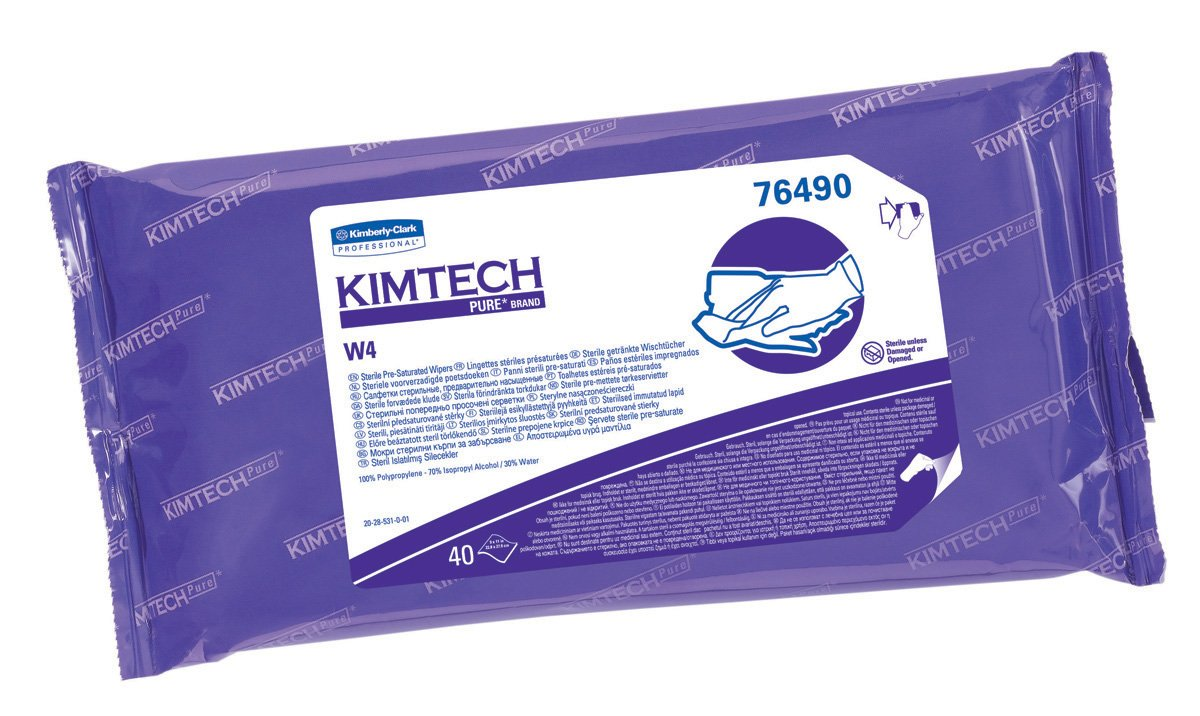 Kimberly-Clark Kimtech 76490 Pure Disposable Wiper with W4 Pre Saturated Sterile, 11'' Length x 9'' Width, White, (10 Pouches of 40)