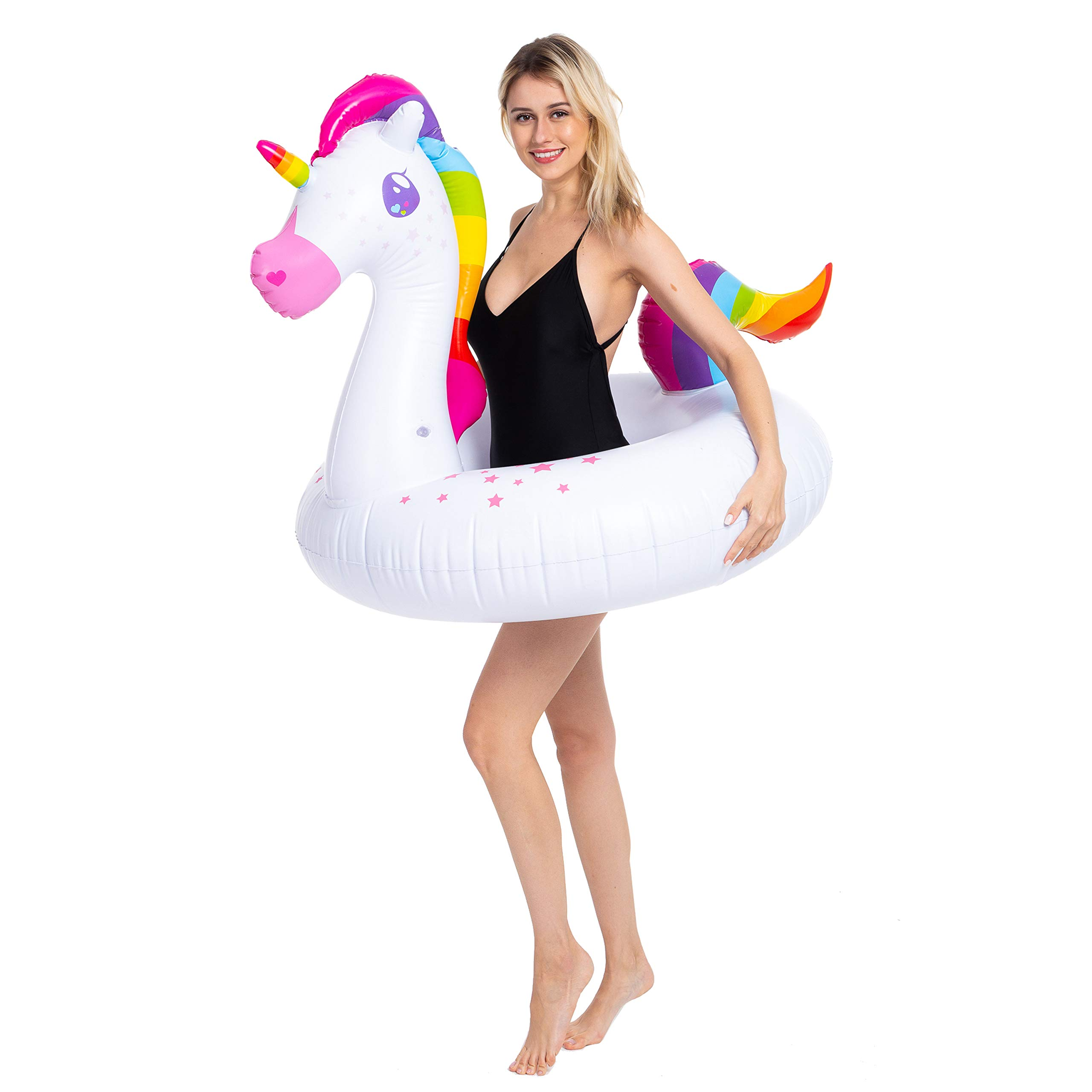 JOYIN Inflatable Flamingo and Unicorn Pool Float 2 Pack, Fun Beach Floaties, Swim Party Toys, Summer Pool Raft Lounger for Adults & Kids (Inflates to Over 4ft. Wide) by JOYIN (Image #2)