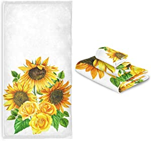 CaTaKu Towels Set 3-Piece Tropical Sunflower Towel Bathroom Sets 1 Bath Towel 1 Washcloth 1Hand Towel Van Gogh Towel Set of 3 Soft Multifuntion for Home Kitchen Hotel Gym Swim