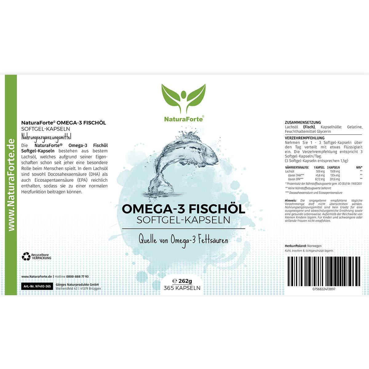 Omega 3 en Cápsulas (365 Cápsulas - Suministro Anual) - Máxima Potencia - EPA y DHA | NaturaForte: Amazon.es: Salud y cuidado personal
