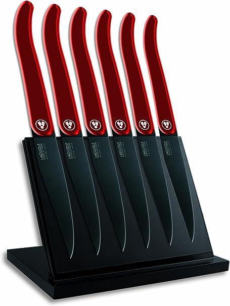 Laguiole Evolution 448240 Bloc Aimante De 6 Couteaux A Steak Laguiole Acidule Avec Manche Inox Rouge 15 X 13 X 26 Cm
