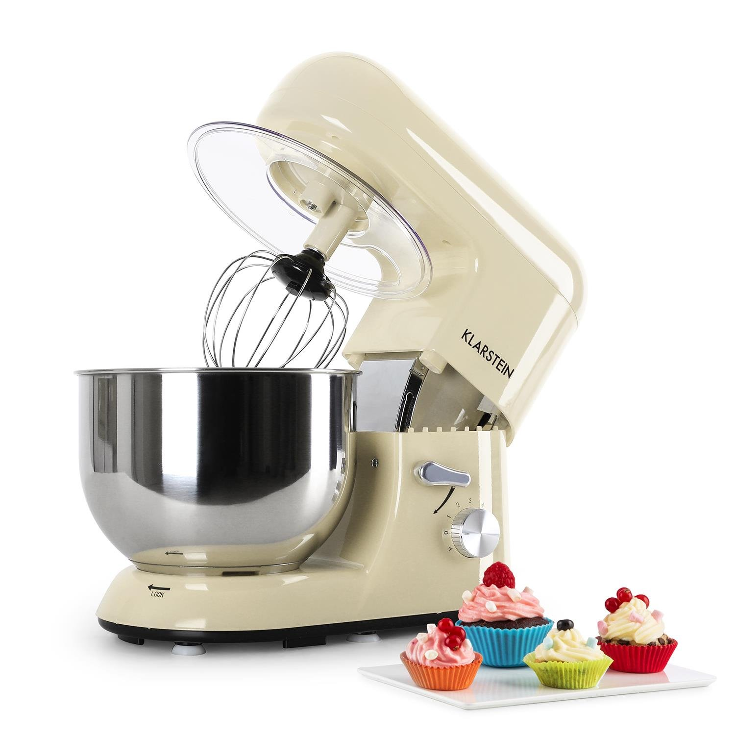 KLARSTEIN Bella Morena • Tilt-Head Stand Mixer • Dough Hook, Flat Beater, Wire Whip • 650 Watts • 1.1 HP • 5.5 qt Stainless Steel Bowl • Planetary Mixing Action • 6 Speeds • Multifunctional • Cream