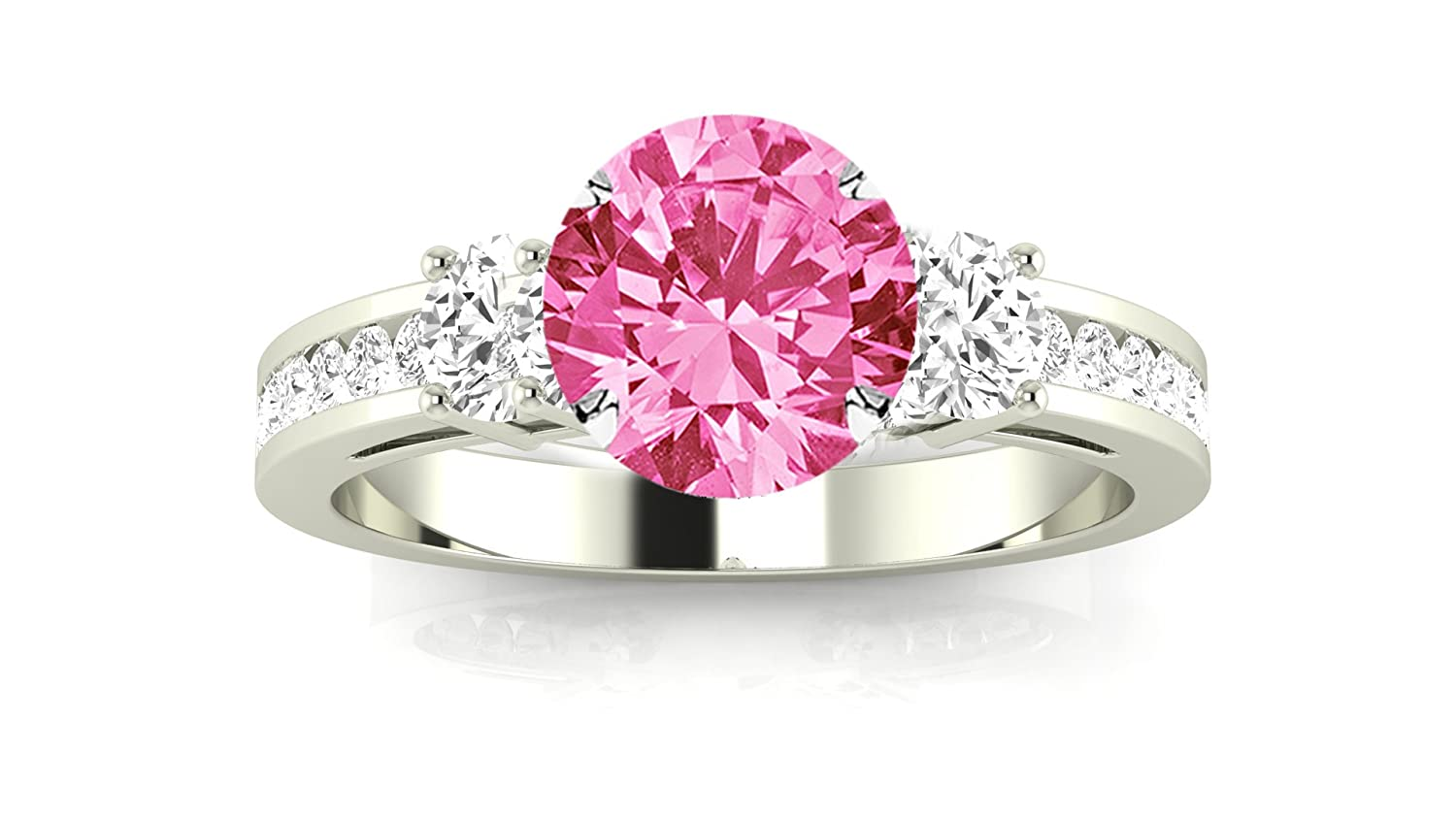 Channel Set 3 Three Stone Diamond Engagement Ring with a 1.5 Carat ...