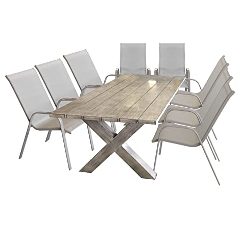 Tavoli Da Giardino In Alluminio Amazon.Ottieni Tavolo Da Giardino In Alluminio In Effetto Legno Bilanciato