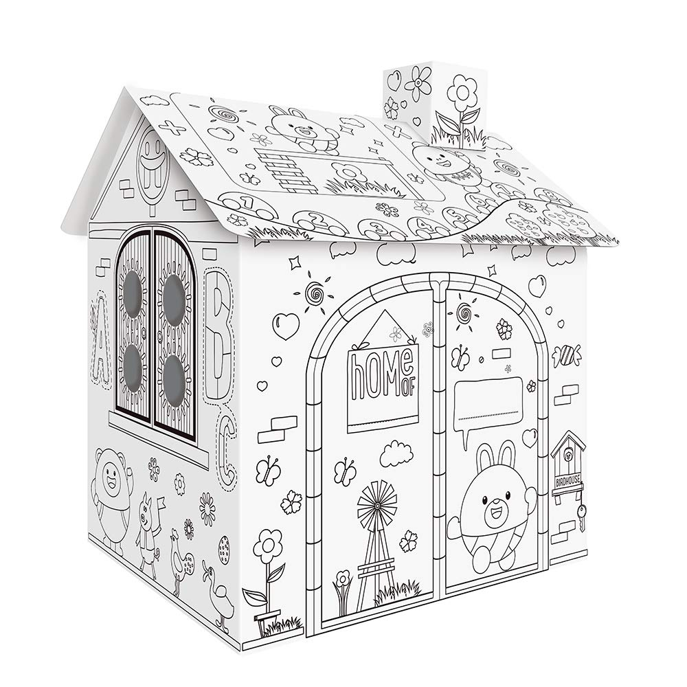 for Kids Decdeal DIY Large Cardboard Coloring Creative Crafts Play House 2.2 Feet Tall Project Assemble and Paint Educational Toys
